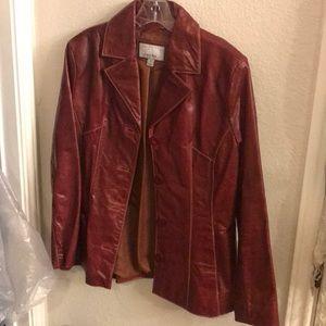 Ox blood leather jacket